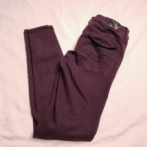 American Eagle Outfitters Jeans - American Eagle Super Stretch Jeggings Plum Size 2